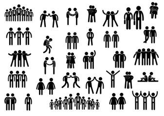 Piktogramme zum Thema menschliche Beziehungen