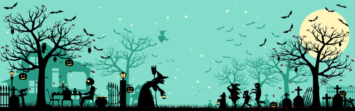 Halloween silhouette Background/5 unique layers of halloween pattern easy to color adjustment