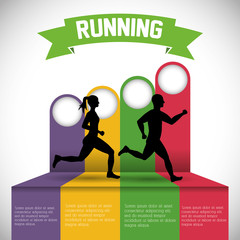 runner man woman infographic athlete running training fitness healthy lifestyle sport marathon icon. Colorful and flat design. Vector illustration
