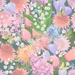 seamless texture with different flowers and butterflies. floral