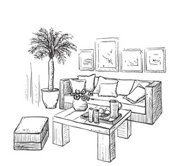 Modern interior room sketch. Furniture.