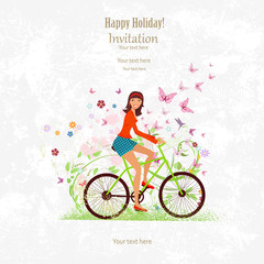 sport Invitation card with a happy girl riding on bike on grunge