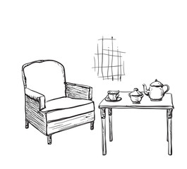 Tea time. Hand drawn chair and table