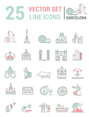 Set vector line icons in flat design with  Barcelona elements