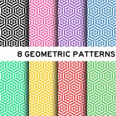 8 pastel color hexagon pattern