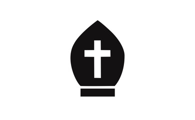 Vector christianity hat symbol icon on white background