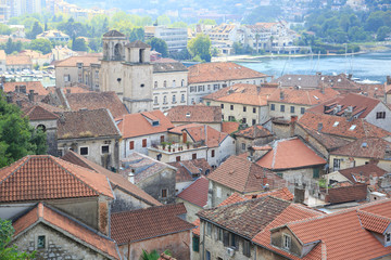 Top view of the tiled roofs of the old town of Kotor, Montenegro.
