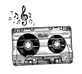 Hand-drawn cassette music. Sketch audio tape. Vector illustration