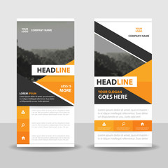 Orange Black Abstract triangle Business Roll Up Banner flat design template ,Abstract Geometric banner template Vector illustration set, abstract presentation template