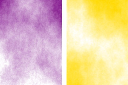 Illustration of a purple and yellow divided white smoky background