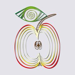 Half an apple. Vector fruit. Illustration apple. Flat icon