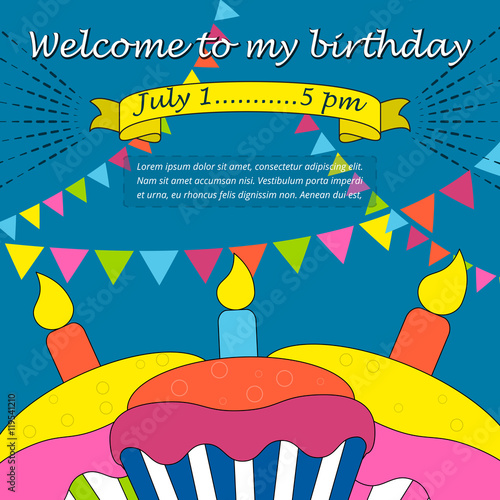 Happy Birthday Party celebration welcome card or invitation card