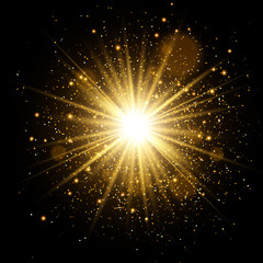 Golden Glow light effect. Star burst with sparkles. Vector Illustration : glow lighting effect - azcodes.com