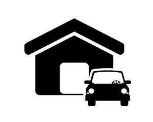 flat design house and car icon vector illustration