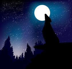 Wolf howling at the night moon standing on the mountain.