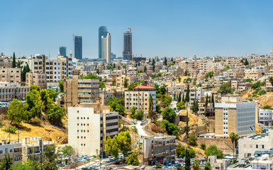 Cityscape of Amman downtown with skyscrapers at background