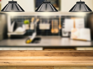 Wooden Counter With 3d Rendering Hanging Lamps With Kitchen Background
