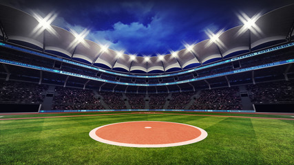 baseball stadium with fans under roof with spotlights