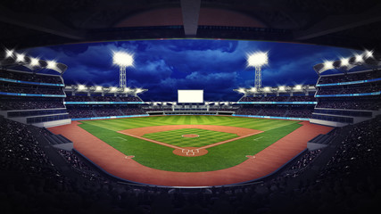 baseball stadium under roof view with fans Wall mural