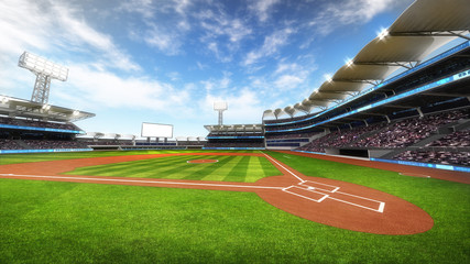baseball stadium with fans at sunny weather