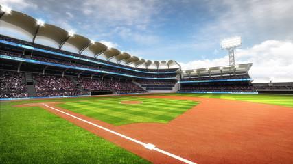 sunny baseball stadium with fans at daylight