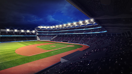 baseball stadium with fans under roof tribune view