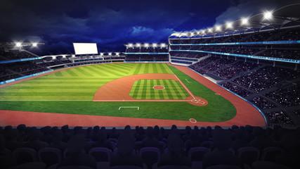 baseball stadium with green grass playground