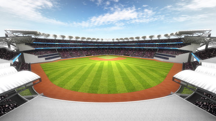 Aluminium Prints Dark grey amazing baseball stadium with fans at daylight