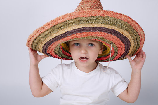 cute little boy with sombrero