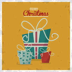 gift present vintage merry christmas decoration celebration icon. Colorful and grunge design. Vector illustration