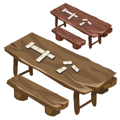 Wooden bench and a table with dominoes chips