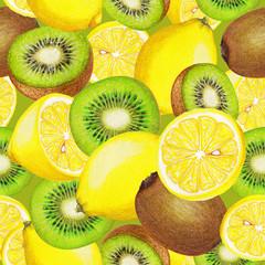 Seamless pattern of kiwi and lemons