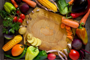 Composition with assorted organic raw vegetables. The concept of