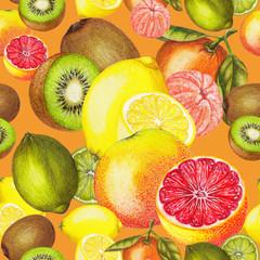 Seamless pattern of citrus fruits on orange background
