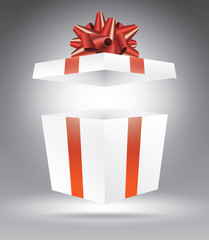 Gift box on grey vector illustration template for advertising