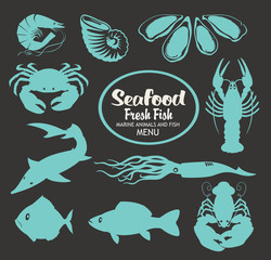 set of vector drawing animals on the theme of seafood