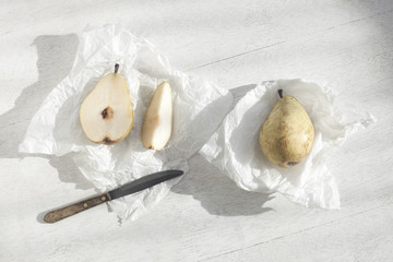 Overhead view of pears on wooden table