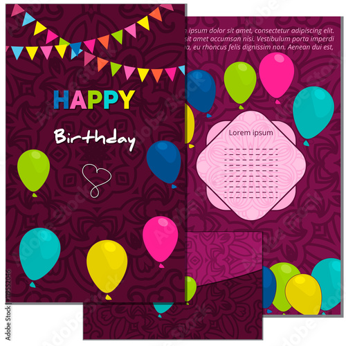 Set happy birthday vector cards and envelope on decorated set happy birthday vector cards and envelope on decorated background happy birthday template stopboris Gallery