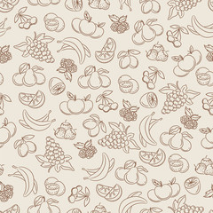 Seamless pattern with hand drawn berries and fruits sketch vector