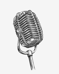 Hand-drawn vintage microphone. Sketch karaoke. Vector illustration