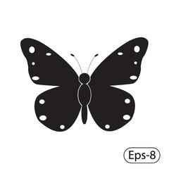 черно белая иконка бабочки