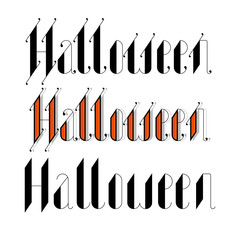 halloween 2016 lettering with gothic font orange