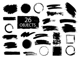 Set of hand drawn brushes and design elements. black paint, ink brush strokes. Grunge circle, square. Artistic creative shapes. Vector illustration.