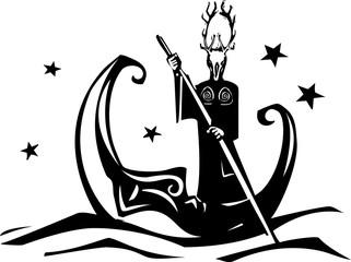 Woodcut style moon and a pagan God