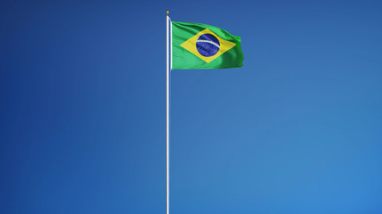 Brazil flag waving against clean blue sky, long shot, isolated with clipping mask alpha channel transparency, perfect for film, news, digital composition