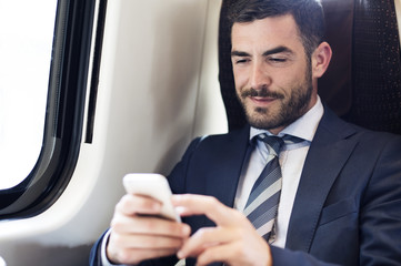 Businessman using smart phone in train