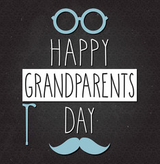 Grandparents Day poster on black chalkboard. Handwritten text. Vector illustration.
