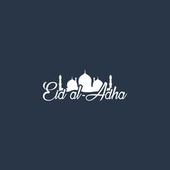 Beautiful text design of Eid Al Adha mubarak. vector illustratio