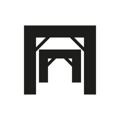 Mining mine entrance icon on white background