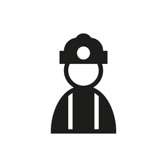 Coal miner icon on white background